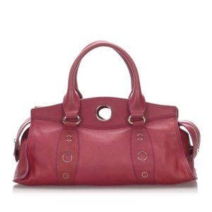 Red Celine Leather Handbag Bag